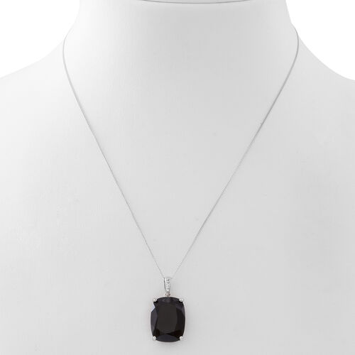 Boi Ploi Black Spinel (Cush) Pendant with Chain in Rhodium Plated Sterling Silver 23.500 Ct.
