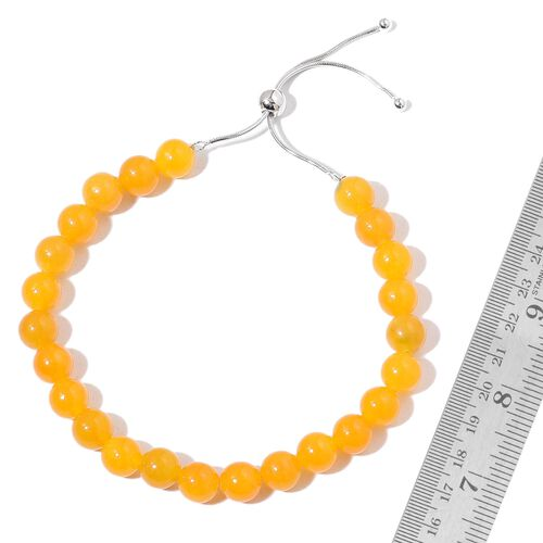 One Time Deal- Burmese Yellow Jade Ball Beads BOLO Bracelet (Size 6.5 to 9.5) in Rhodium Plated Sterling Silver 90.000 Ct.