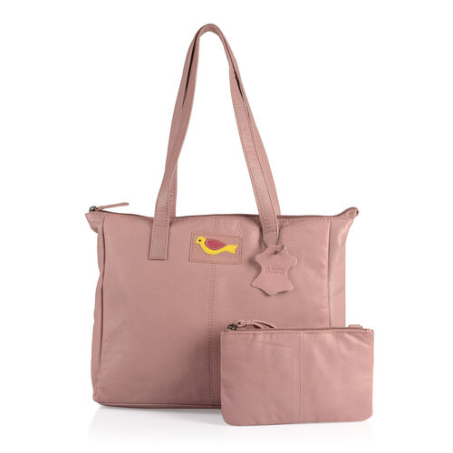 Set of Two -Marie Full Grain Genuine Leather Blush Pink Tote Bag with RFID Pouch (Size 31x9x28cm and 20x13cm)