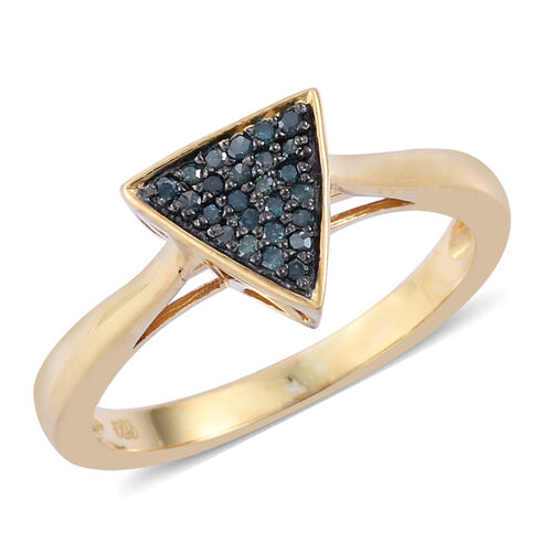 Blue Diamond (Rnd) Ring in Yellow Gold Overlay Sterling Silver 0.100 Ct.