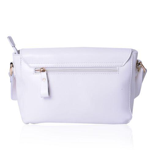 Designer Inspired Genuine Leather Lipstick Design Lock White Colour Crossbody Bag with External Zipper Pocket and Adjustable Shoulder Strap (Size 23X18X10 Cm)