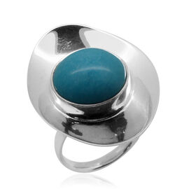 Royal Bali Collection Arizona Sleeping Beauty Turquoise (Rnd) Adjustable Solitaire Ring in Sterling Silver 9.950 Ct.