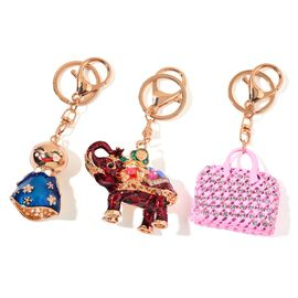 Set of 3 - AAA White and Black Austrian Crystal Elephant, Handbag and Doll Design Key Chains in Yellow Gold Tone