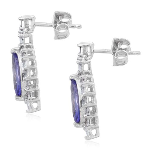 Limited Edition-Tanzanite (Mrq), Diamond Earrings (with Push Back) in Platinum Overlay Sterling Silver 2.500 Ct.