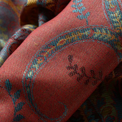 100% Modal Orange, Red and Multi Colour Floral Pattern Burgundy Colour Jacquard Scarf (Size 190x70 Cm)