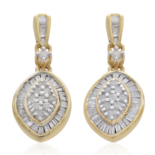 Diamond (Rnd) Earrings (with Push Back) in 14K Gold Overlay Sterling Silver 0.500 Ct.