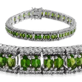 Russian Diopside (Ovl), White Topaz Bracelet in Platinum Overlay Sterling Silver (Size 8) 16.000 Ct.