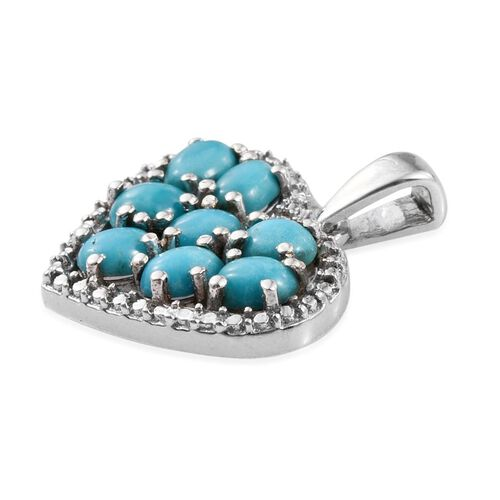 Kingman Turquoise (Ovl) Heart Pendant in Platinum Overlay Sterling Silver 1.250 Ct.