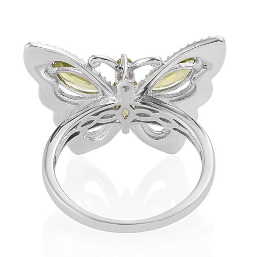Hebei Peridot (Mrq) Butterfly Ring in Platinum Overlay Sterling Silver 2.250 Ct.