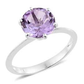 Rose De France Amethyst (Rnd) Solitaire Ring in Sterling Silver 3.250 Ct.