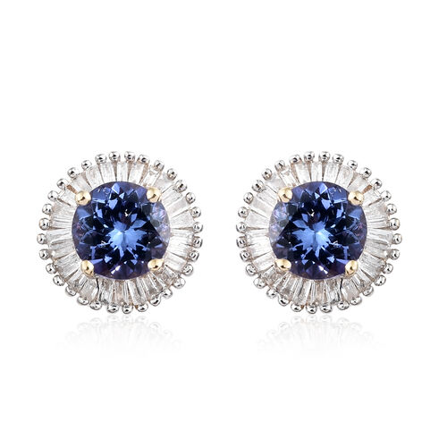 1.50 Ct AA Tanzanite and Diamond Halo Stud Earrings in 9K Gold  (with Push Back)
