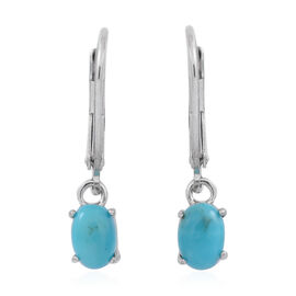 American Turquoise (Ovl) Lever Back Earrings in Rhodium Plated Sterling Silver 1.250 Ct.