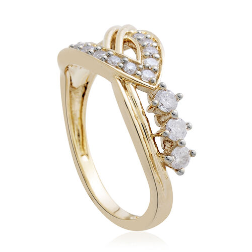 9K Yellow Gold 0.50 Carat Diamond Ring SGL Certified I3 G-H