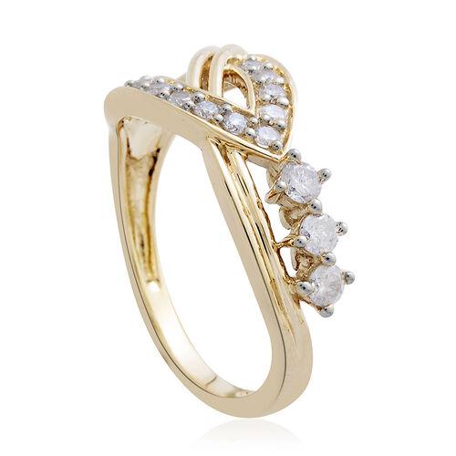 9K Yellow Gold 0.50 Carat Diamond RingSGL Certified (I3/G-H)
