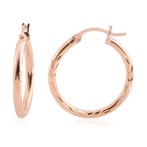 Rose Gold Overlay Sterling Silver Diamond Cut Hoop Earrings (with Clasp)
