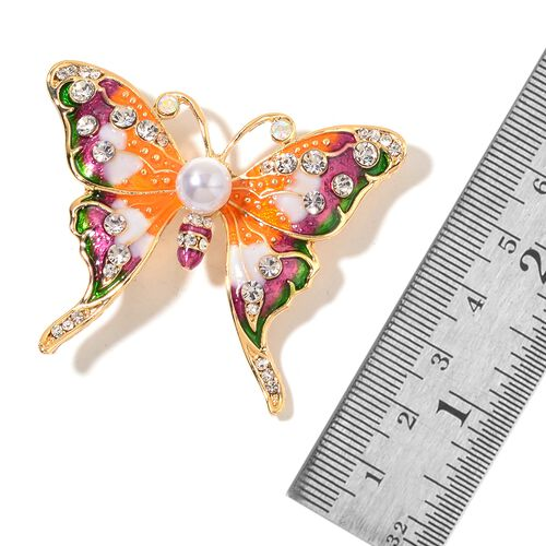 Set of 2 - Simulated White Pearl and Multi Colour Austrian Crystal Enameled Butterfly and Humming Bird Brooch in Yellow Gold Tone