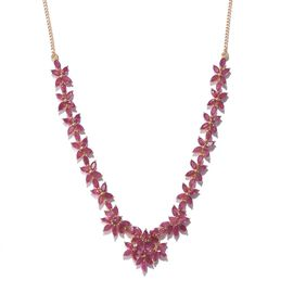 AAA African Ruby (Mrq) Necklace (Size 18) in 14K Gold Overlay Sterling Silver 19.000 Ct.