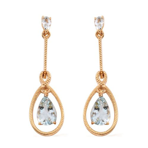 Espirito Santo Aquamarine (Pear) Earrings (with Push Back) in 14K Gold Overlay Sterling Silver 2.000 Ct.