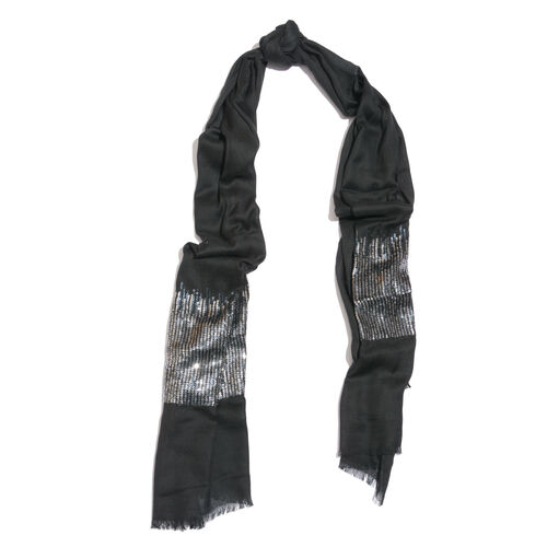 Limited Edition Designer Inspired Black Colour Scarf with Sequins Work on Border (Size 180x70 Cm)