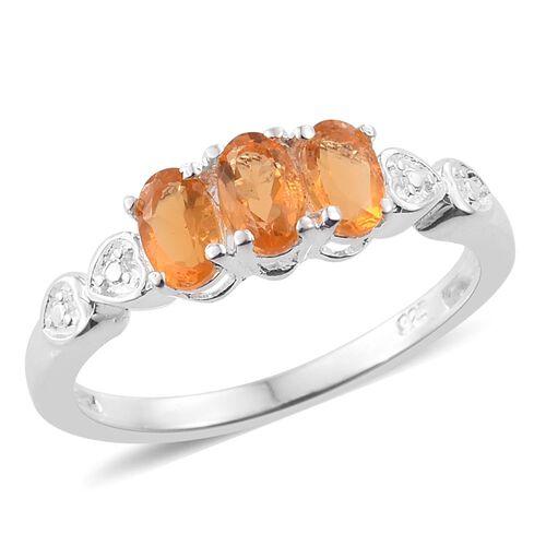 Jalisco Fire Opal (Ovl) Trilogy Ring in Sterling Silver