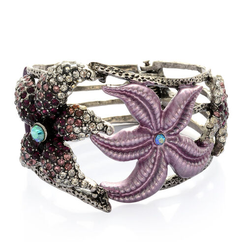 White, Purple and Multi Colour Austrian Crystal Enameled Bangle in Silver Tone (Size 7.5)