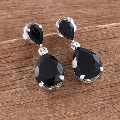 Black Tourmaline (Pear) Drop Earrings (with Push Back) in Platinum Overlay Sterling Silver 5.250 Ct.