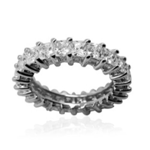 ELANZA AAA Simulated Diamond (Sqr) Full Eternity Ring in Rhodium Plated Sterling Silver