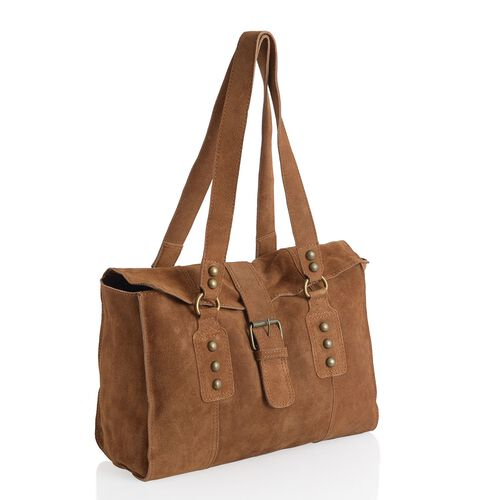 Genuine Leather Dark Chocolate Colour Handbag with Flap Buckle Closure (Size 33x24 Cm)