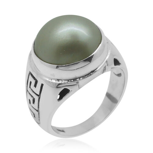 Royal Bali Collection Mabe Pearl (Rnd) Solitaire Ring in Sterling Silver 6.000 Ct.