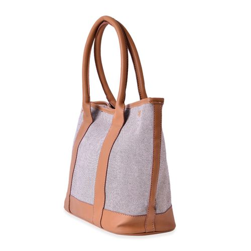 Weekend Grey and Camel Colour Canvas Tote Bag (Size 37x26x15 Cm)