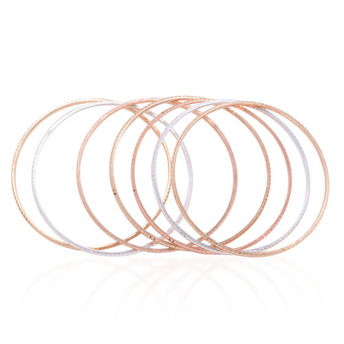 Set of 7 - Close Out Deal Rose, White and Yellow Brass Bangle (Size 7)