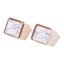 White Howlite Stud Earrings in Rose Gold Tone 65.000 Ct.