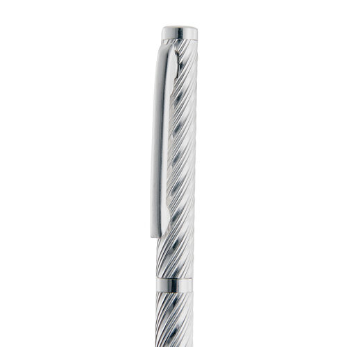 Sterling Silver Stripes Pattern Ball Pen with 1 Extra Refill in Black Colour Box