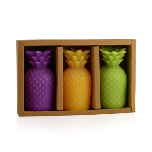 Home Decor - Set of 3 - Pineapple Shape Candles in Yellow, Purple and Green Colour (Size 12x6 Cm)