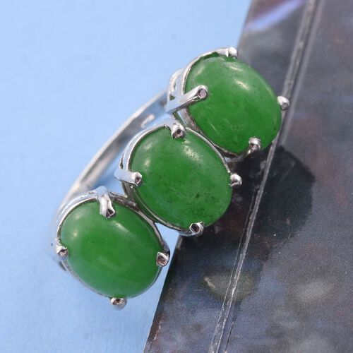 Green Jade (Ovl) Trilogy Ring in Platinum Overlay Sterling Silver 6.750 Ct.