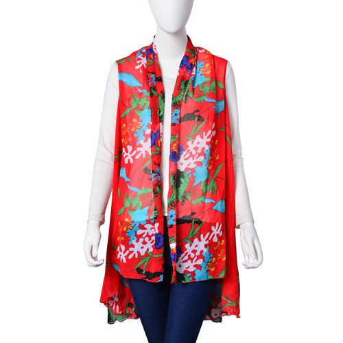 Green, Blue and Multi Colour Floral and Leaves Pattern Red Colour Poncho (Free Size)