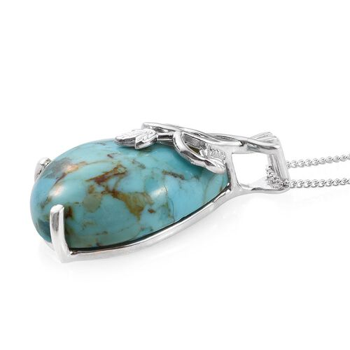Arizona Matrix Turquoise (Pear) Pendant With Chain in Platinum Overlay Sterling Silver 10.750 Ct.
