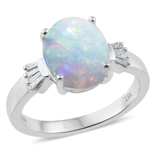 ILIANA 18K White Gold AAA Ethiopian Welo Opal (Ovl 1.85 Ct), Diamond (SI G-H) Ring 2.000 Ct.
