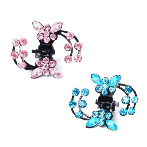 Set of 30 - Simulated Pink Sapphire and Simulated Blue Topaz Butterfly Hairpins in Black Tone
