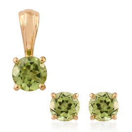 Hebei Peridot 2 Carat Silver Solitaire Pendant and Stud Earrings in Gold Overlay (with Push Back)