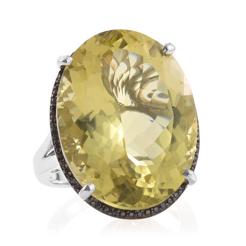 Natural Green Gold Quartz (Ovl), Black Diamond Ring in Platinum Overlay Sterling Silver 41.000 Ct.