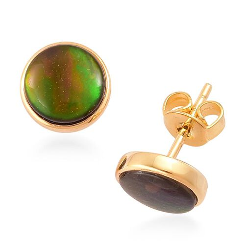 AA Canadian Ammolite (Rnd) Stud Earrings (with Push Back) in Yellow Gold Overlay Sterling Silver 3.000 Ct.