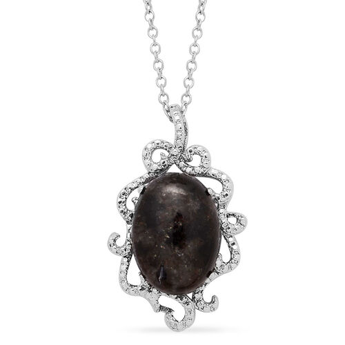 Black Labradorite (Ovl) Solitaire Pendant in ION Plated Silver Bond With Stainless Steel Chain 8.500 Ct.