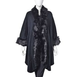 Designer Inspired - Black Colour Jacket with Faux Fur Edge (One Size)