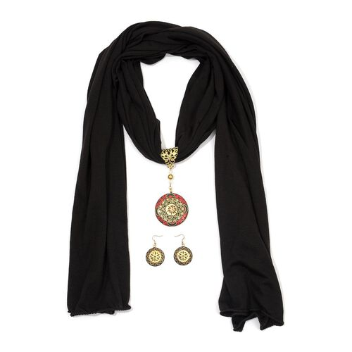Black Viscose Scarf (Size 180x50 Cm) with Brass Pendant and Hook Earrings