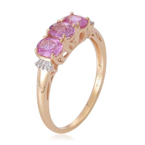 ILIANA 18K Yellow Gold 1.50 Carat Pink Sapphire Oval, Diamond SI G-H Trilogy Ring.