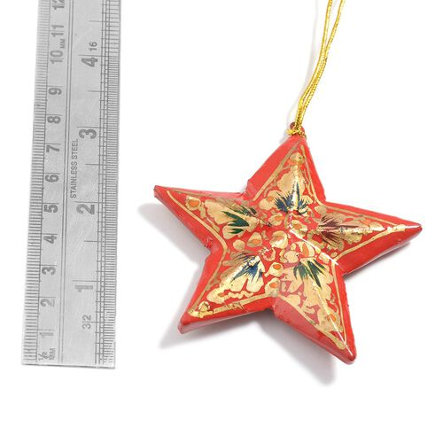 (Option 1) Christmas Decorations - Set of 3 Red Colour Paper Mache Hanging Christmas Stars
