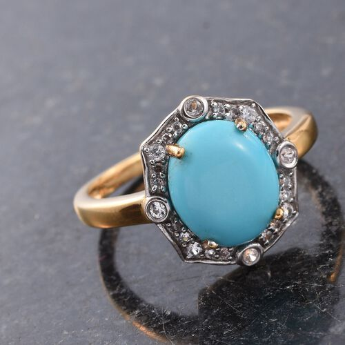 AAA Arizona Sleeping Beauty Turquoise (Ovl 3.05 Ct), Natural Cambodian Zircon Ring in 14K Gold Overlay Sterling Silver 3.250 Ct.