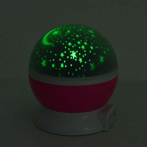 Super Auction - Home Decor - Pink and White Colour Night Sky Projector LED Lamp with USB Cable (Size 14.5X12 Cm)