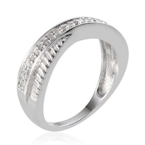 Diamond (Rnd) Criss Cross Ring in Platinum Overlay Sterling Silver 0.150 Ct.
